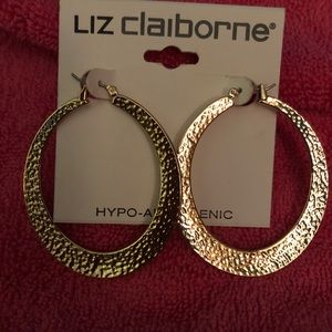 Liz Claiborne gold tone hammered hoop earrings